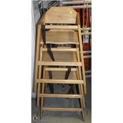 GROUP OF THREE SOLID WOOD HIGH CHAIRS