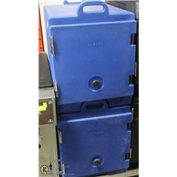 TWO FOOD CAMBRO FOOD TRANSPORTS