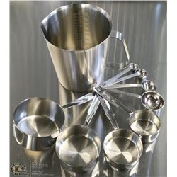 STAINLESS MEASURE SET - LOT OF 9 PIECES