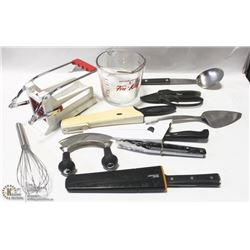 LOT OF VARIOUS KITCHEN ITEMS & UTENSILS INCL 3