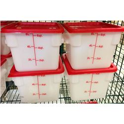 6QT INGREDIENT BINS WITH LIDS - LOT OF 4