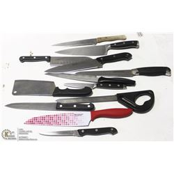 LOT OF 10 PLUS KITCHEN KNIVES INCL CHICAGO