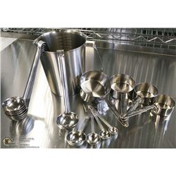 STAINLESS MEASURE SET - LOT OF 15 PIECES