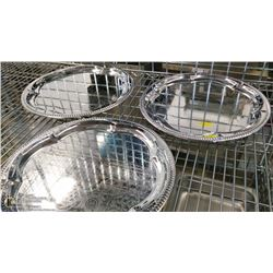 """14"""" ROUND CHROME PLATED STEEL PLATTERS - LOT OF 3"""