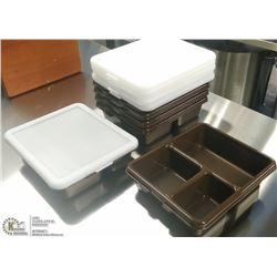 CAMBRO MEAL DELIVERY TRAYS WITH LIDS - LOT OF 6