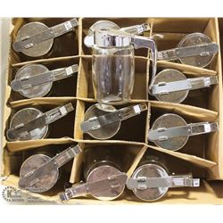 LOT OF 12 NEWCHROME SUGAR/SYRUP DISPENSER