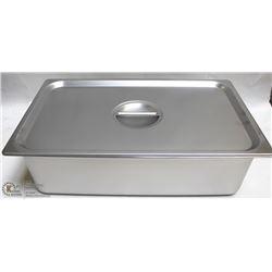 "ME#11) S/S FOOD PAN FULL SIZE 6"" DEEP W/ LID"