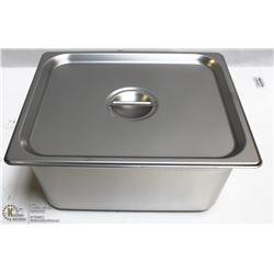 "ME#10) S/S FOOD PAN HALF  SIZE 6"" DEEP W/ LID"