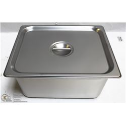 "ME#09) S/S FOOD PAN ONE THIRD SIZE 6"" DEEP W/ LID"