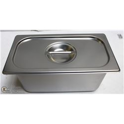"""ME#09) S/S FOOD PAN ONE THIRD SIZE 6"""" DEEP W/ LID"""