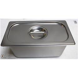 ME#09) S/S FOOD PAN ONE THIRD SIZE 6  DEEP W/ LID