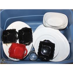 TOTE OF ASSORTED SERVING PLATES & DISHES