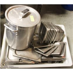 TOTE OF ASSORTED STAINLESS STEEL INSERTS & LIDS