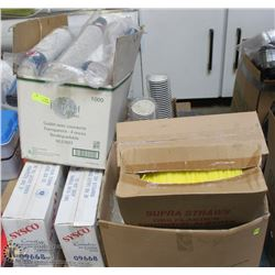 PALLET OF ASSORTED DISPOSABLE TAKE OUT SUPPLIES ;