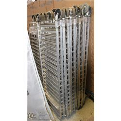 LOT OF TEN 20 SLAT BAKERS RACKS, NEED ASSEMBLY,