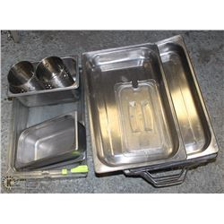 MISC LOT INCLUDING CHAFING DISH FRAMES + LID,
