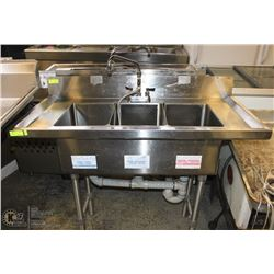"3 WELL STAINLESS STEEL COMMERCIAL SINK 48""X23""X36"""
