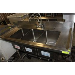 """3 WELL STAINLESS STEEL COMMERCIAL SINK 48""""X23""""X36"""""""
