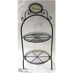 2 BLACK METAL DESSERT DISPLAY TIERED STAND