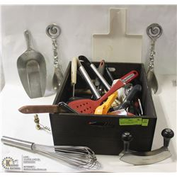 WOOD BOX FULL OF KITCHEN KNIVES , UTENSILS ETC.
