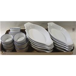 LOT OF SINGLE SERVE LASAGNE DISHES & SAUCE DISHES