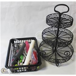 BASKET OF KITCHEN UTENSILS + METAL DISPLAY STAND