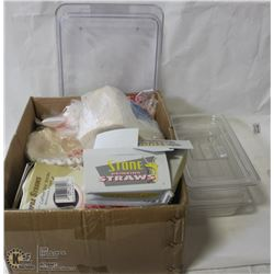 LOT OF CLEAR COVERED COLD TRAYS/INSERTS AND