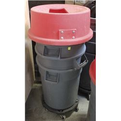 SINGLE BRUTE WASTE BIN WITH DOLLY AND 3 KATCH ALL