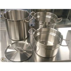 20QT HD STAINLESS STOCK POT, STEAMER & DOUBLE BOIL