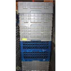 LARGE STACK OF COMMERCIAL DISHWASHER RACKS