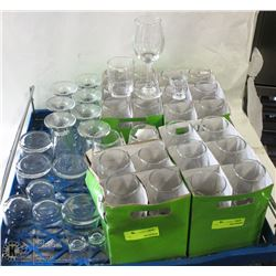 FLAT OF CLEAR JUICE GLASSES, MILK GLASSES,