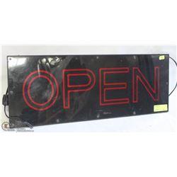 17W BLACK BACKDROP OPEN SIGN