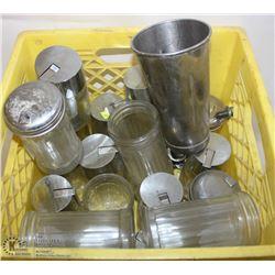 CRATE OF GLASS, SUGAR, & SURUP DISPENSERS