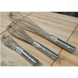 """STAINLESS WHIPS 10"""", 14"""", 20' - LOT OF 3"""