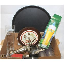 FLAT OF RESTAURANT ITEMS INCL CUPS, MEASURES, SALT