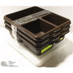 THREE CAMBRO MEAL DELIVERY TRAYS WITH LIDS