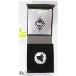SUPERMAN $10 SILVER COIN W/ COA & COLLECTOR BOOK.