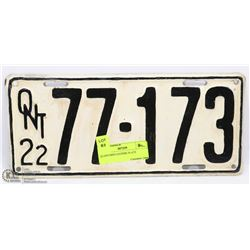 1922 ONTARIO LICENSE PLATE