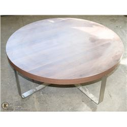 ROUND WOOD TONE AND METAL COFFEE TABLE