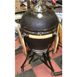 "NEW BLACK 22"" KAMADO BBQ GRILL CERAMIC COOKER,"