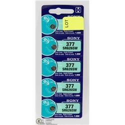 PACK OF 5 SONY SR626SW SILVER OXIDE BATTERIES