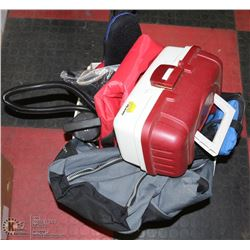 BOX OF SPORTS ITEMS INCL TACKLE BOX, COOLER BAGS