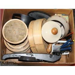 BOX WITH HOUSEHOLD INCL FONDUE SET, GRATER,