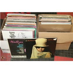 2 BOXES OF LPS AND JOHN WAYNE COLLECTION 8 TRACK