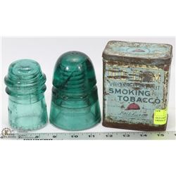 OLD CHUM TOBACCO TIN AND 2 GREEN GLASS