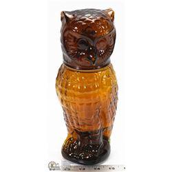 VINTAGE AMBER GLASS OWL DECANTER