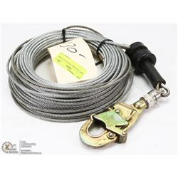 130FT 3/16 CABLE WITH SALA HOOK.