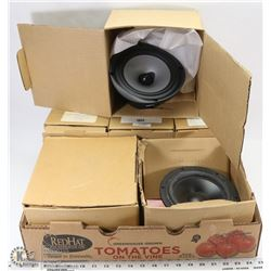 FLAT OF ASSORTED SIZED NEW PSB SPEAKERS,