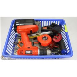 BIN OF ESTATE TOOLS INCLUDES MINI PLIER SET, LEVEL