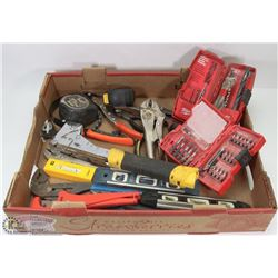 FLAT OF ESTATE TOOLS, INCLUDES MILWAUKEE BITS,
